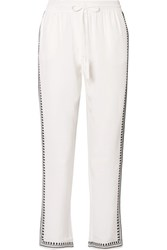 Marie France Van Damme Embroidered Silk Crepe De Chine Straight Leg Pants White