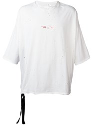 Unravel Project Distressed T Shirt White