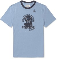 Maison Martin Margiela Printed Cotton Jersey T Shirt Light Blue