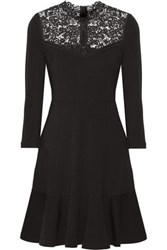 Erdem Reiko Crochet Paneled Stretch Ponte Dress Black