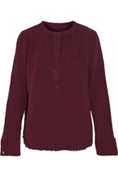 Current Elliott The Annabelle Frayed Cotton Gauze Top Burgundy