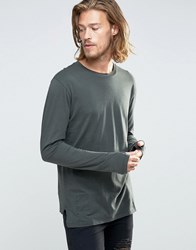 Religion Long Sleeve T Shirt With Stepped Front Dark Metal Grey
