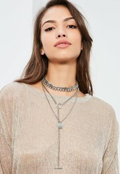 Missguided Silver Layered Hardware Necklace