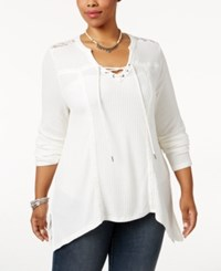 American Rag Trendy Plus Size Waffle Knit Top Only At Macy's Egret