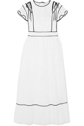 Red Valentino Redvalentino Cutout Ruffled Broderie Anglaise Woven Dress White