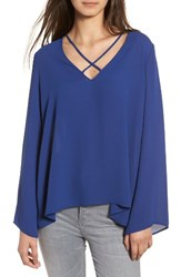 Lush Women's Cross Front Blouse Twilight Blue