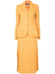 Issey Miyake Vintage Egg Carton Skirt Suit Yellow And Orange