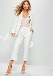 Missguided White Crepe Cropped Kick Flare Trousers