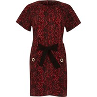River Island Womens Red Print Bow Tied T Shirt Dress