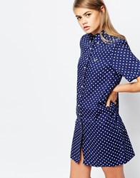Fred Perry Polka Dot Shirt Dress Navy
