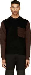 Kenzo Black And Brown Marled Knit Pocket Sweater