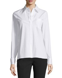 Michael Kors Collection Long Sleeve French Cuff Shirt Optic White Women's Size 0