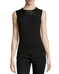Reed Krakoff Leather Yoke Ribbed Shell Black