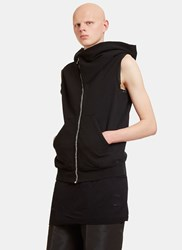 Rick Owens Draped Hood Zip Up Sleeveless Sweater Black