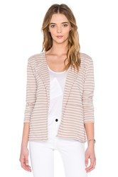 Heather Stripe Panel Cardigan Beige