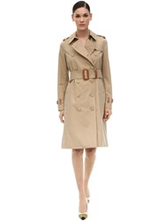 Burberry Cotton Canvas Trench Coat Honey