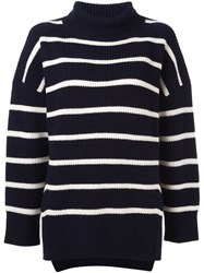 Sea Striped Turtle Neck Sweater Blue