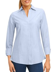Lord And Taylor Button Front Shirt Blue