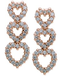 Giani Bernini Cubic Zirconia Pave Triple Heart Drop Earrings In 18K Rose Gold Plated Sterling Silver Only At Macy's