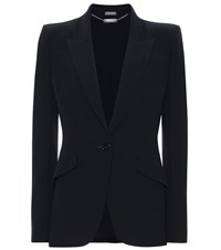 Alexander Mcqueen Single Breasted Crepe Blazer Black