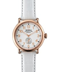 Runwell Rose Golden Watch With Alligator Strap 41Mm Shinola White