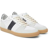 Ami Alexandre Mattiussi Panelled Leather Suede And Mesh Sneakers White