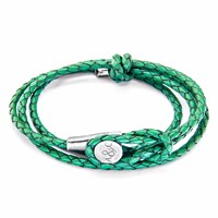 Anchor And Crew Fern Green Dundee Silver Leather Bracelet