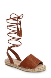 Sole Society Women's Clover Ankle Wrap Espadrille Sandal Cognac Leather
