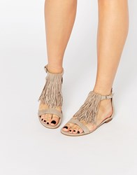 Kendall And Kylie Tessa Suede Nude Fringe Flat Sandals Nude Beige