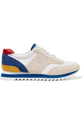 Tory Burch Sawtooth Leather Trimmed Paneled Suede And Canvas Sneakers Bright Blue