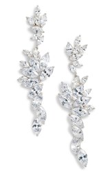 Nina Layered Marquise Cubic Zirconia Statement Earrings White Silver