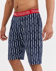 Penguin Jersey Lounge Shorts In Veritcal Print In Blue And White Navy