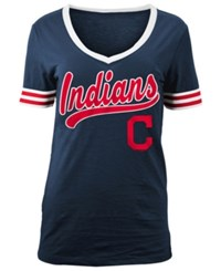 5Th And Ocean Women's Cleveland Indians Retro V Neck T Shirt Navy