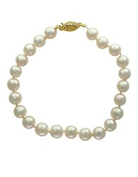 Effy 7 7.5Mm Akoya Pearls 14K Yellow Gold Bracelet White