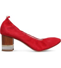 Kg By Kurt Geiger Essence Block Heel Suede Courts Red