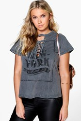 Boohoo Melli Acid Wash Printed Lace Up Tee Charcoal
