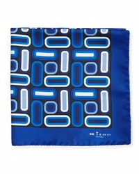 Kiton Rectangle And Square Printed Silk Pocket Square Blue