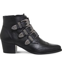 Office Jagger Multi Buckle Leather Boots Black Tumbled
