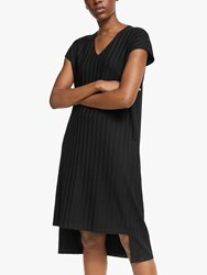 Eileen Fisher Wide Rib V Neck Shift Dress Black