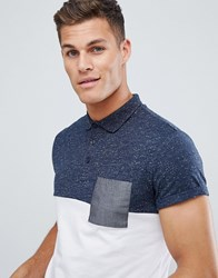 Asos Design Polo Shirt With Roll Sleeve And Contrast Pocket White
