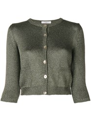 Charlott Front Fastened Fitted Knitted Cardigan Green