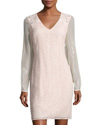 Kay Unger New York Sequined Lace Sheath Dress Blush