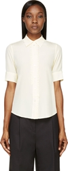 Marc Jacobs Ivory Silk Asymmetric Ruffle Blouse