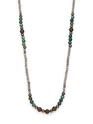 Stephanie Kantis Labradorite Green Moss Agate And Smoky Topaz Long Beaded Necklace Gold Multi
