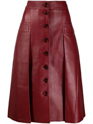 Dodo Bar Or Leather Midi Skirt Red