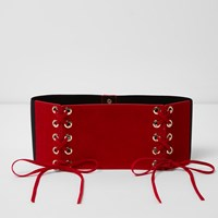 River Island Red Wide Double Lace Up Belt