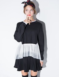 Pixie Market Black Mesh Layered Hem Sweater