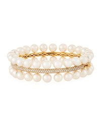 Assael Akoya Pearl Two Row Diamond Trim Bracelet