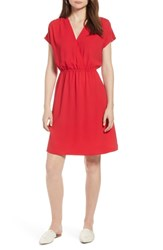 Halogen Faux Wrap Dress Red Lipstick
