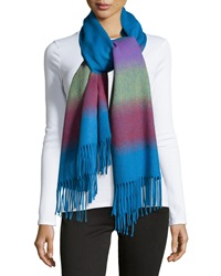 Neiman Marcus Striped Fringe Wool Scarf Blue